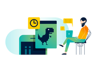 Game Lab illustration brand illustration game designer dino headphone chair education website education game design green orange gradient device laboratory game lab programmer gamer game laptop time dinosaurs