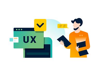 App Lab illustration lab research ux designer ui design ui  ux app design ab test ab testing green orange mentor teacher ux branding app gradient illustration