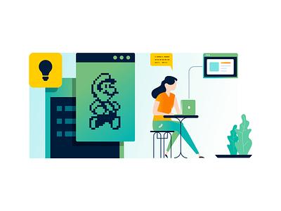 Game Designer super mario brand illustration game device education app chat bubble woman developer idea bulb mario bros orange yellow game design game designer ux gradient illustration
