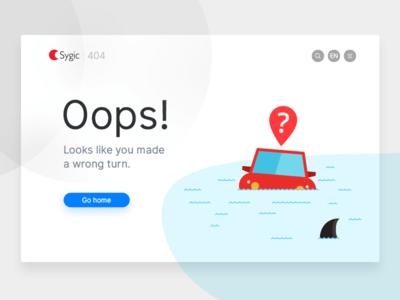 Sygic 404 ui turn wrong shark sea water diving car floating lost error 404