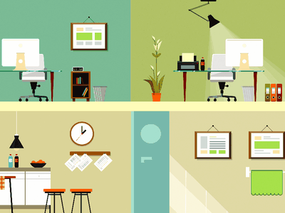 Workspace Illustrations eco door computer chair books lamp office station work table
