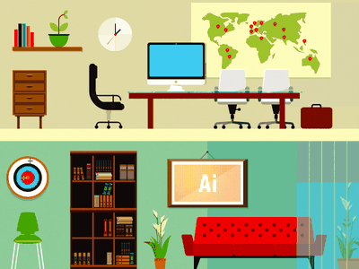 Workspace and Relax zone rooms illustrations target sofa bookcase library dartboard computer chair books office workspace map table