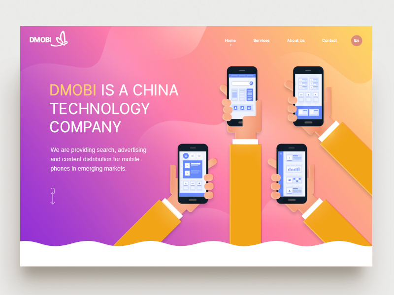 Landing Page - Dmobi yellow content illustration gradient hands search advertising device phone mobile