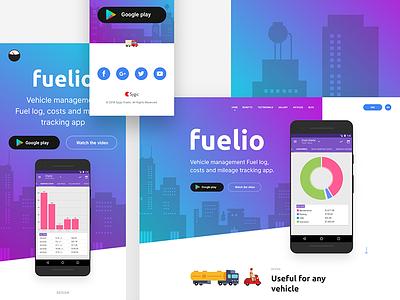 Fuelio App - Landing Page tracking app costs mileage vehicle management fuel log petrol fuel