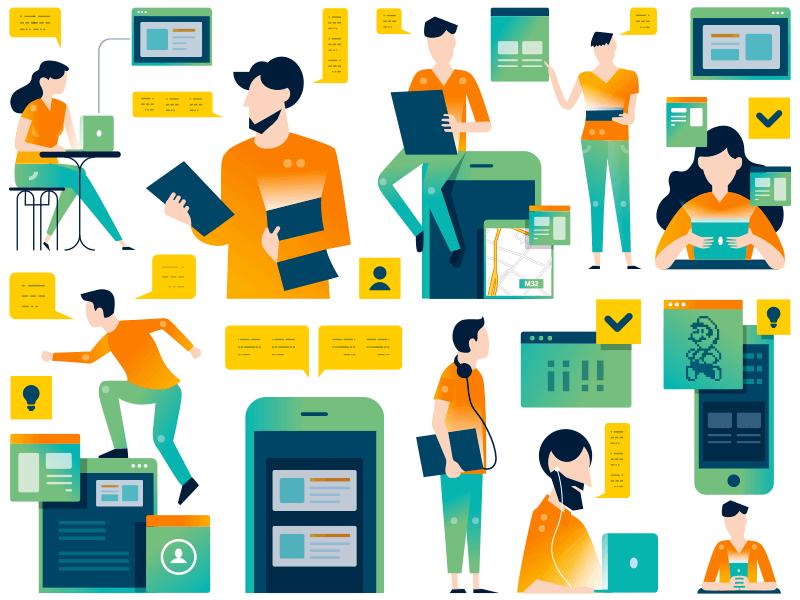Butterfly Effect - illustrations lab app figures devices mentorship students teacher mentors education accelerator
