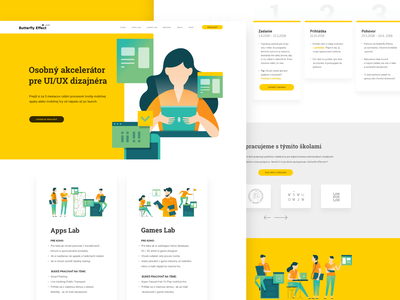 Butterfly Effect - Homepage game education laboratory students ui ui  ux uiux green yellow illustration illustrator illustrations accelerator teachers mentors app lab mentorship