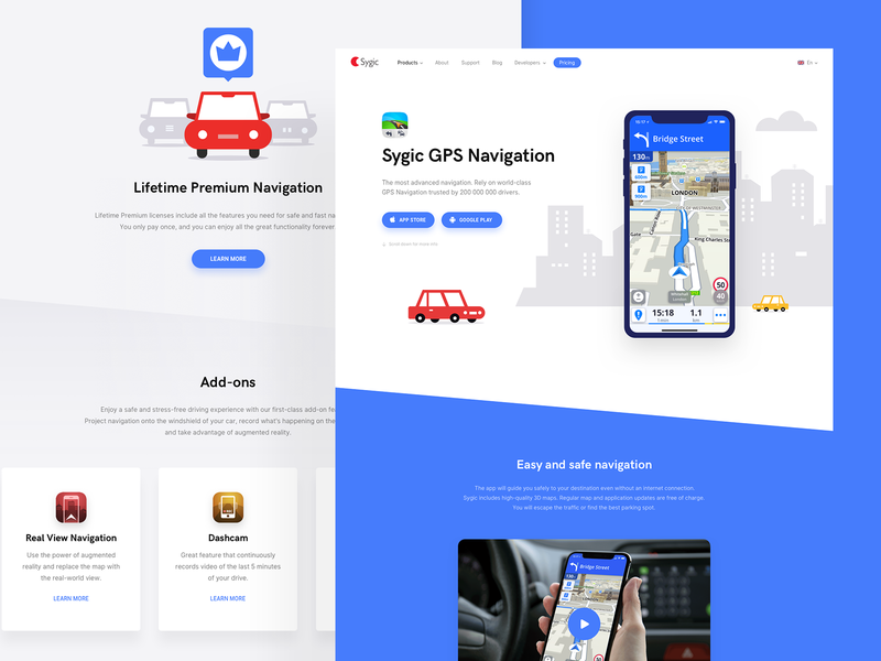 Sygic GPS Navigation App - Website Redesign device add-on blue cars car sygic web map ui  ux design navigate vehicles illustration website navigation car app