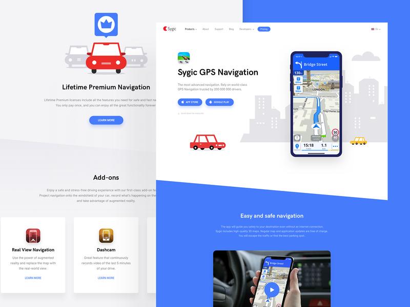 Sygic GPS Navigation App - Website Redesign device add-on blue cars car sygic web map ui  ux design navigate vehicles illustration website navigation car app