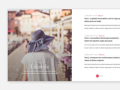 Blog page layout posts lifestyle interface layout blog