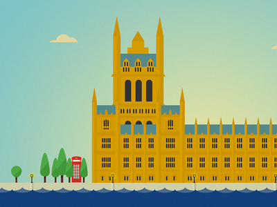 LONDON series, 1 of 14: House of Parliament water river trees telephone architecture house of parliament london buildings illustration