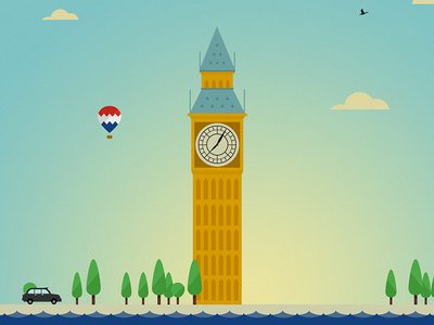 LONDON series, 2 of 14: Big Ben londonseries big ben water trees telephone river london illustration house of parliament buildings architecture