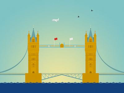 LONDON series, 6 of 14: Tower Bridge bridge river london illustration buildings architecture tower bridge