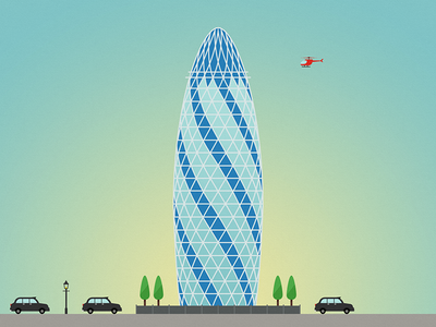 LONDON series, 9 of 14: Gherkin helicopter skyscraper london illustration buildings architecture gherkin trees lamps