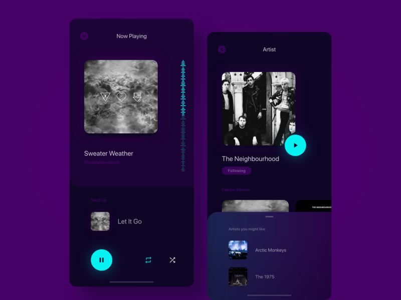 Now Playing and Artist screens modern minimal music app dark app artist music ux ui app