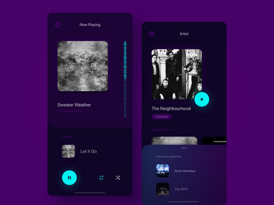 Music App: Now Playing and Artist screens modern minimal music app dark app artist music ux ui app