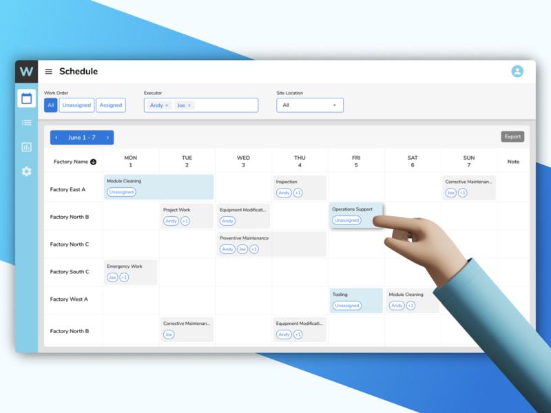 Maintenance management and scheduling figma ux ui desktop design desktop assign task management dispatch scheduling work order maintenance saas design saas app saas