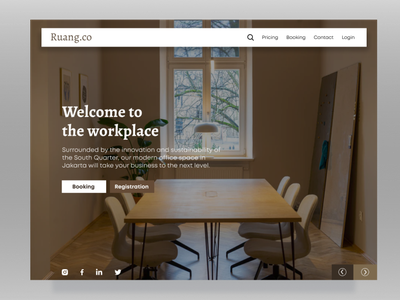 Co-working Space Landing Page landingpage web design ux ui