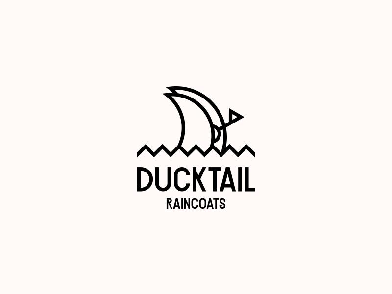 DUCKTAIL RAINCOATS. Logo Design fashion brand symbol mark logo design logotype logo water rain wear ducktail duck raincoat cloth clothing