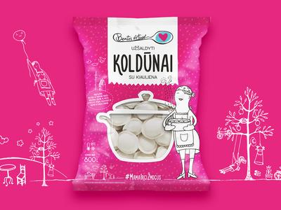 Beatos Virtuvė. Dumplings Packaging drawing bright package dumplings packaging food