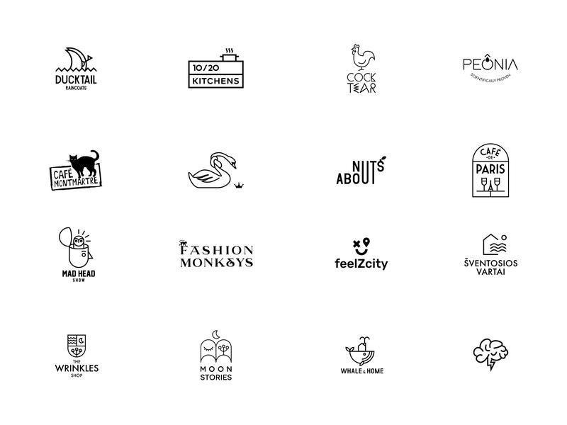 Logofolio www.medziausis.com black modern logofolio linear minimal branding mark symbol brand logo design logotype logo