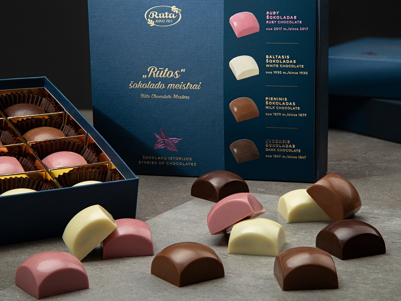 Rūta. 4 Stories of Chocolates Collection Package ruby gold sweets candy box luxury food packaging package chocolate