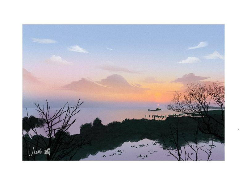 黄昏湖景 sunshine lake