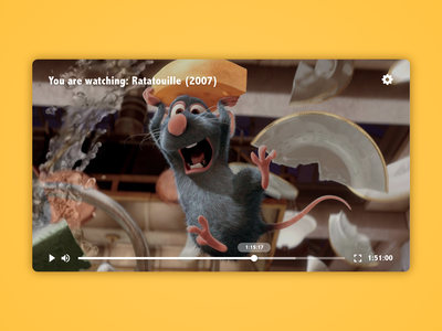 Daily UI 057 Video Player start play ratatouille video player video adobe xd adobexd adobe user experience ux user interface vector ui illustration dailyuichallenge dailyui illustrator design