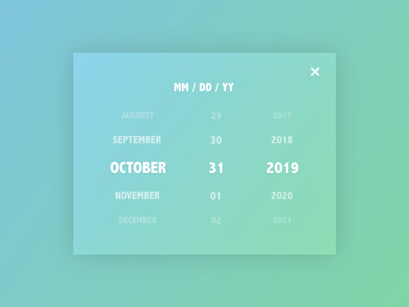Daily UI 080 Date Picker year day month data picker data adobe xd adobexd adobe user experience ux user interface vector ui illustration dailyuichallenge dailyui illustrator design