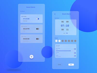 Smart Alarm Mobile App Design android app design design illustration alarm ios android mobile app design mobile app mobile ui app design uxdesign uidesign uiux ux ui glassmorphism