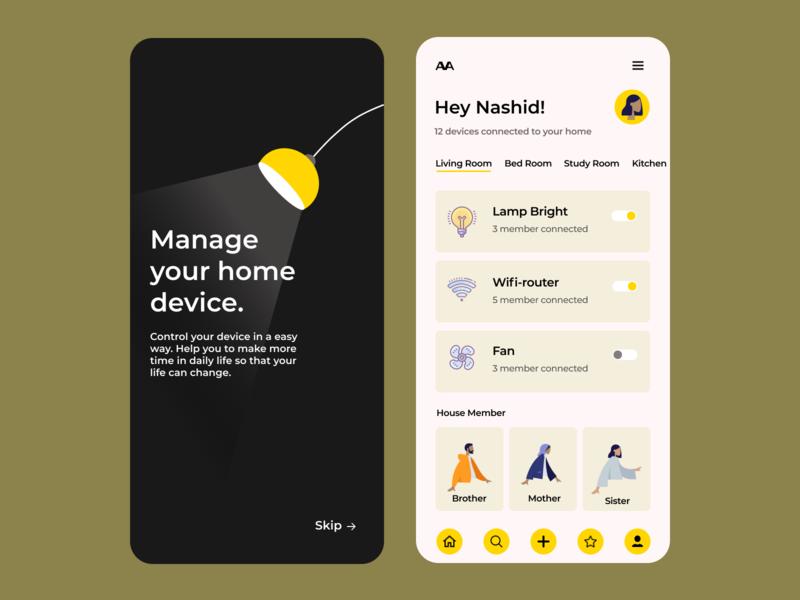 AVA Mobile App black yellow appdesign app icon branding typography creative ux ui ideas design composition