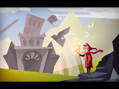 Magician castle painting magician