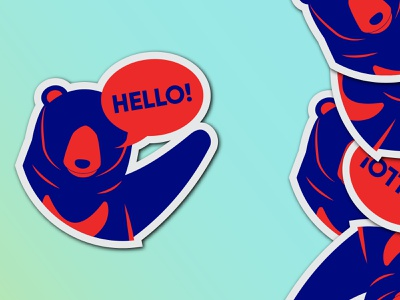 Hello - Logo, The Sun Bear of Redaco red cyan blue simple sun bear bear stickers sticker ui  ux website branding illustration logo minimal design