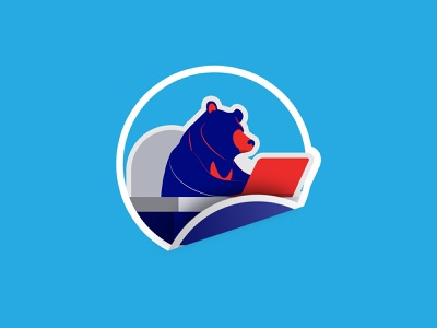 Taking Note - Logo, The Sun Bear of Redaco sticker cyan navy blue typography logo branding mobile web illustration website ui  ux minimal design