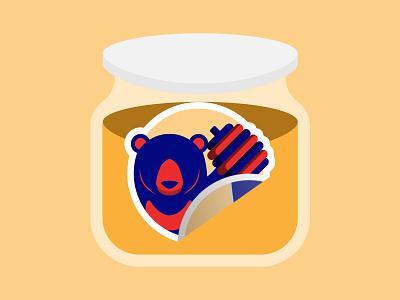 Logo Likes Honey honeybee jar bear orange yellow honey branding ui ux flat illustration website web ui  ux minimal design