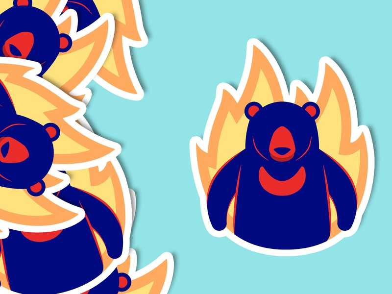 On Fire - Logo, The Sun Bear of Redaco website branding instagram hot onfire fire cyan sticker typography app mobile illustration flat web ui  ux minimal design