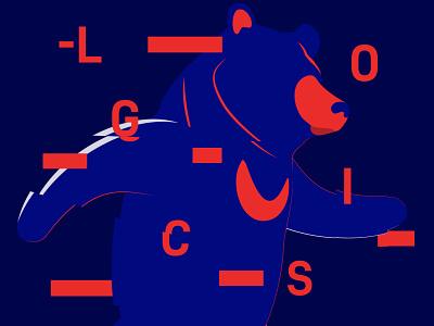 Redaco's LOGICS mission logo typography red navy sun bear bear branding illustration flat minimal design