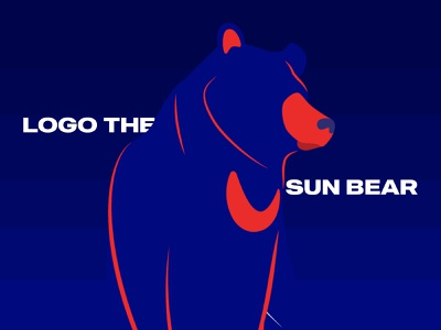 Traits of Logo, the Sun Bear type sun bear bear red navy blue navy typography flat logo branding illustration minimal design