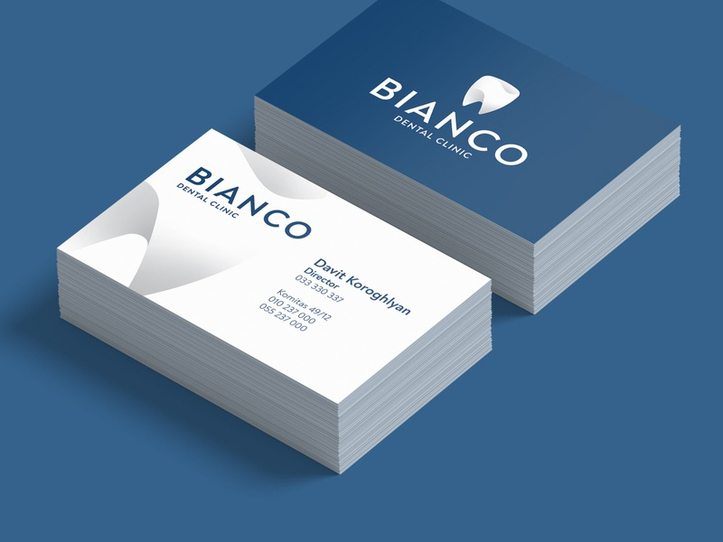 Bianco Dental Business Cards card design bcard business card design logo design graphicdesign design logodesign logo business cards business card businesscard