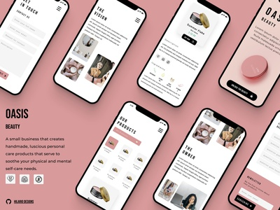 Oasis Beauty mobile beauty skincare figma graphic design app ux vector branding ui illustration design