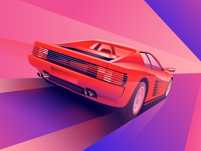 Testarossa illustrator miami cars ferrari illustration