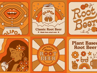 Now Serving illustration vintage plants 70s retro soda rootbeer