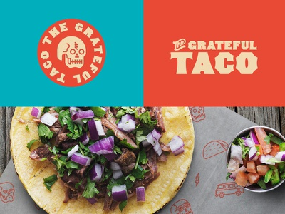 The Grateful Taco branding brand blue orange food icons mexican taco logo