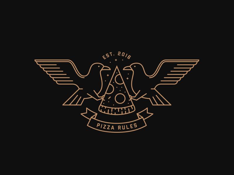 Pizza Rules icon feathers bird gold black flatdesign line design logo branding