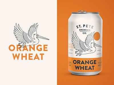Orange Wheat line label branding packaging drink bird pelican beer