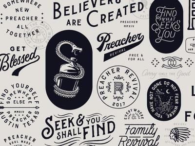 The Unused monogram texas west script snake vintage preacher badge