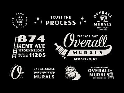 Overall Murals script brush painting branding badges murals signpainter logo