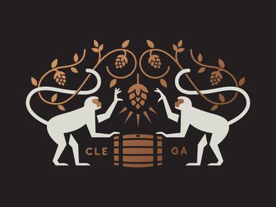 Monkeys & Hops logo vines bottle hops hop barrel monkey beer