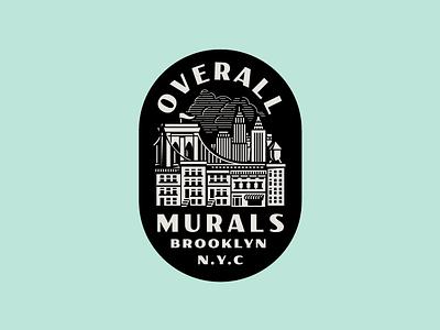 Overall Murals vintage brooklyn bridge skyline city illustration newyork badge