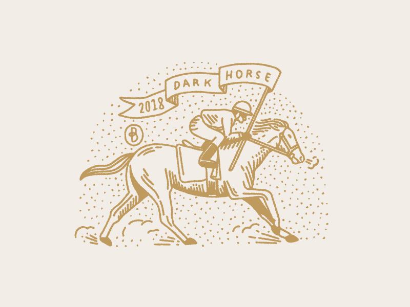 Dark Horse flag victory florida gold vintage illustration horse