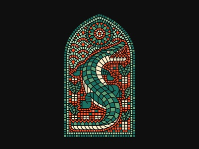 King State florida preacher church design gator mosaic stainedglass